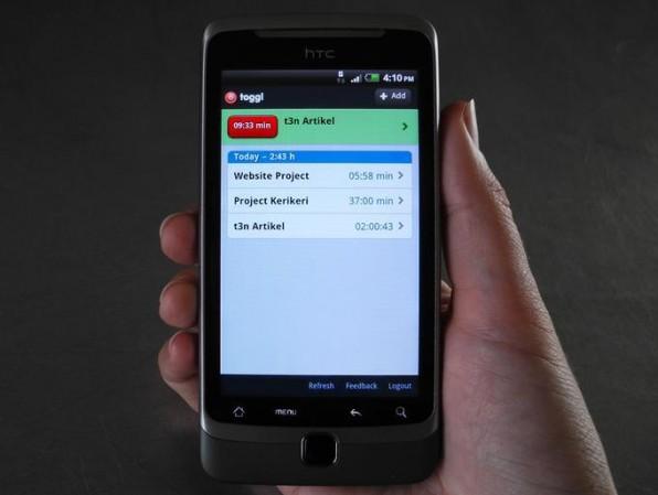 Toggl lässt sich auch praktisch auf dem Smartphone nutzen.
