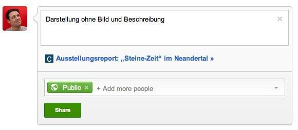 Dieselbe Website bei Google+, dieses Mal ohne Open-Graph-Protokoll.