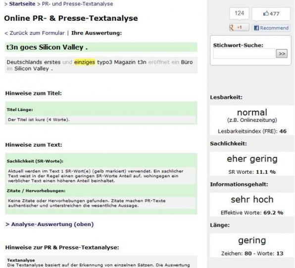 Mit dem Textanalyse-Tool von Presse Anzeiger können Pressemitteilungen auf Buzz-Words und andere sprachliche Dinge hin untersucht werden.