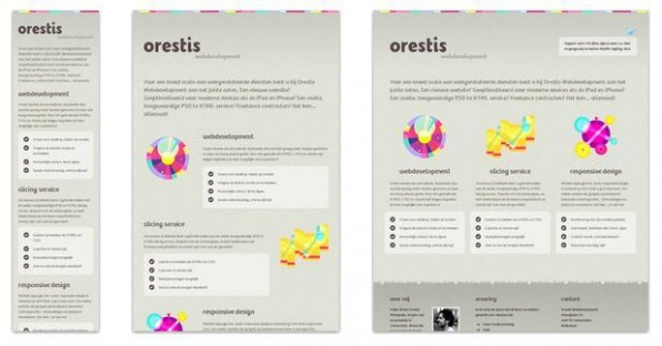 Das Responsive Design der Website orestis.nl mit drei Breakpoints: Smartphone-Version, Tablet-Variante und  Desktop-Ansicht.