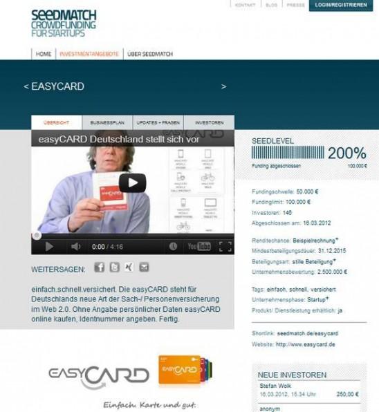 Crowdinvestment wird immer beliebter: Das Startup easyCARD sammelte über Seedmatch in nur 87 Minuten das nötige Geld ein.