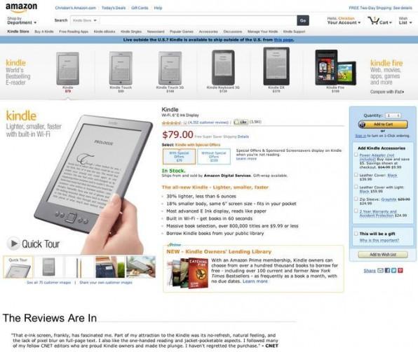 Die Hauptelemente der neuen Amazon-Site sind nun auch Touch- und Tablet-freundlich. Insgesamt ist die Site aufgeräumter und ruhiger.