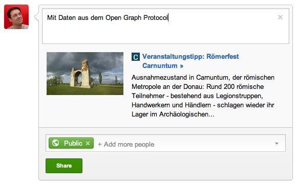 Eine mit Open-Graph-Protokoll bei Google+ eingebundene Website.