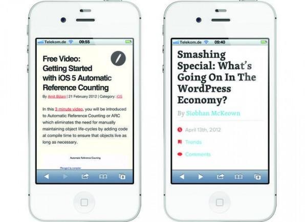 Die Headlines wirken aufgrund nicht angepasster Schriftgrößen zu dominant.
