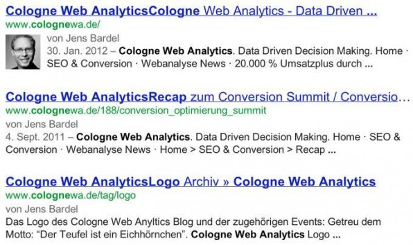 Ein gutes Beispiel für Suchergebnisse mit Autoren-Ranking.