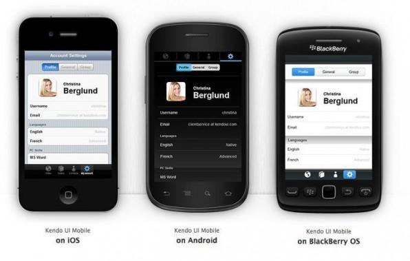 Mobile Web-Apps, die mit Kendo UI Mobile erstellt wurden, nehmen das Look & Feel der Zielplattform automatisch ein.