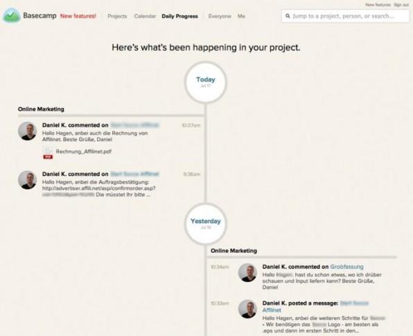 Die Timeline-Ansicht bei Basecamp: hilft auch im Projektmanagement, die Dinge in die richtige zeitliche Abfolge zu bringen.