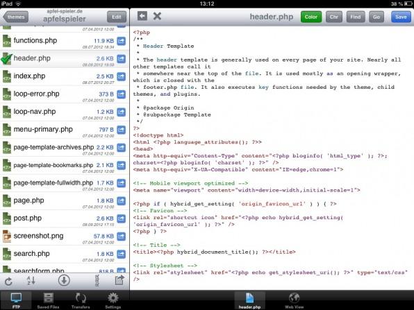 FTP To Go Pro erleichtert auf dem iPad den Zugriff auf Dateien, die sich auf anderen Systemen befinden.