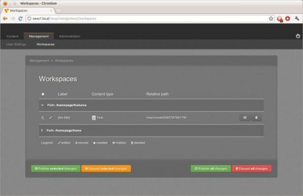 Im Workspaces-Modul kann jeder Nutzer seine Änderungen sehen.