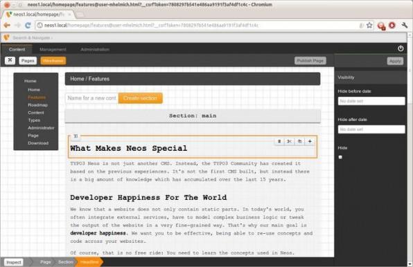 Im Wireframe-Modus kann man Seiteninhalte wie gewohnt losgelöst vom Design bearbeiten.
