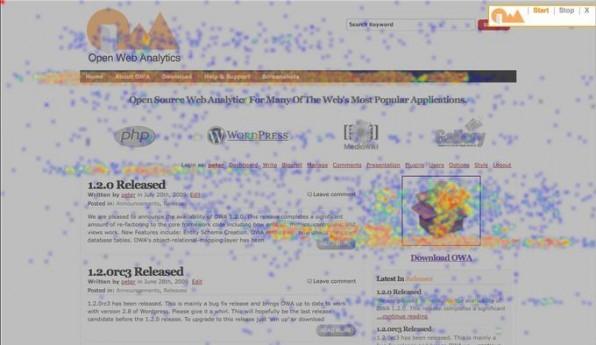 Die Heatmap von Open Webanalytics (OWA) zeigt, was Nutzer anzieht.