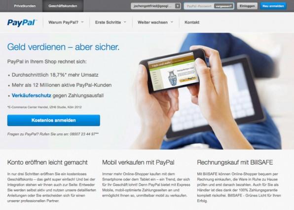 Das Online-Bezahlsystem PayPal ermöglicht es auch kleinen Online-Shop-Betreibern, die Zahlung per Lastschrift oder Kreditkarte anzubieten.
