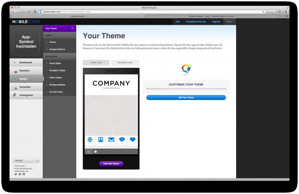 Mobile Roadie bietet ein Online-CMS, mit dem Anwender ihre Apps zentral verwalten können.