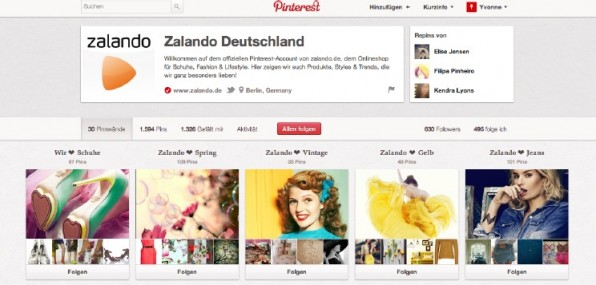 Zalando gehört in Deutschland mit mehr als 1500 Pins und 1300 Likes zu den Vorreitern bei Pinterest. Neben Produkt-Boards gibt es auch Boards für Stilikonen und Farben.