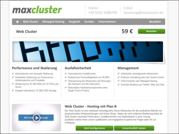 """Spezielles Angebot: Bei """"Web Cluster"""" von maxcluster handelt es sich um eine skalierbare Lösung auf Basis von Managed Servern."""