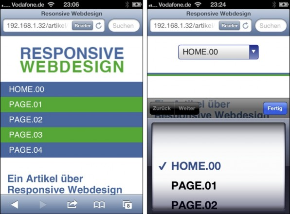 Links: Eine einfache vertikale Ansicht nimmt zu viel Platz im Viewport ein und sollte nur bei sehr wenigen Menüpunkten zum Einsatz kommen. Rechts: Eine Select-Box als Navigation auf dem iPhone.