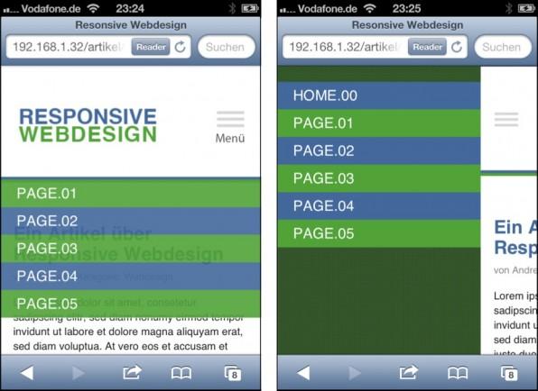 Links: Bei der Dropdown-Navigation legt sich die Navigation über den Inhalt. Rechts: In der Off-Canvas-Ansicht schiebt sich die Navigation von links in die Seite.