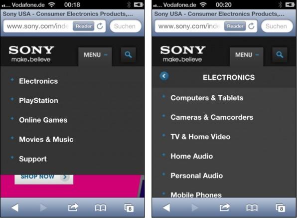 Links: Sony blendet zunächst das Hauptmenü ein. Rechts: Bei einem Klick schiebt sich das Subemnü von der Seite hinein.