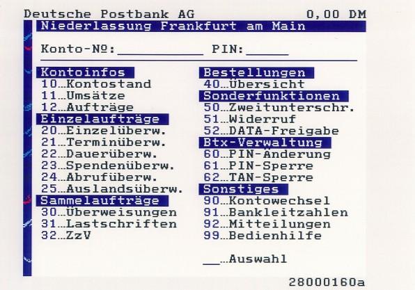 Rudimentäres Online-Banking gehörte bei der Einführung von BTX zu den ersten verfügbaren Angeboten.