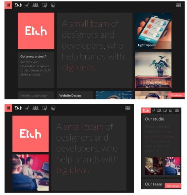 Die Kachel mit dem Logo verschwindet auf Smartphone-Bildschirmen, so dass nur ein kleines Logo am linken oberen Bildschrimrand verbleibt.