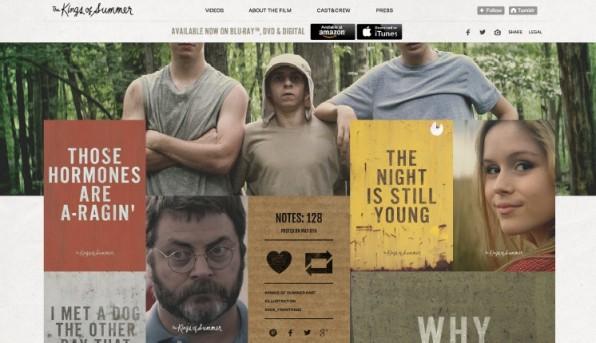 """Mit klar abgegrenzten Kacheln liefert die Film-Seite """"The Kings of Summer"""" eine abwechslungsreiche Gestaltung."""