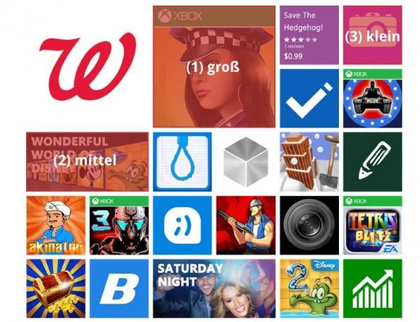 Microsofts Windows-Phone-Store verwendet ein Metro-Raster mit Content-Bereichen in drei verschiedenen Größen.