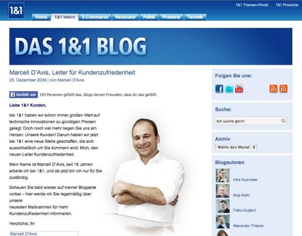"""Mission gescheitert: Der """"Leiter für Kundenzufriedenheit"""" bei 1&1, Marcell D'Avis, erntete im Netz Hohn und Spott. (Screenshot: 1&1)"""