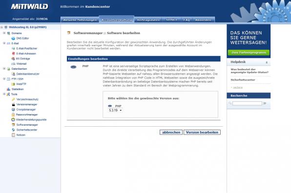 Welche Version hätten Sie denn gern? In der Accountverwaltung kann man bei einigen Hostern die gewünschte PHP-Version wählen, zum Beispiel hier beim Anbieter Mittwald.