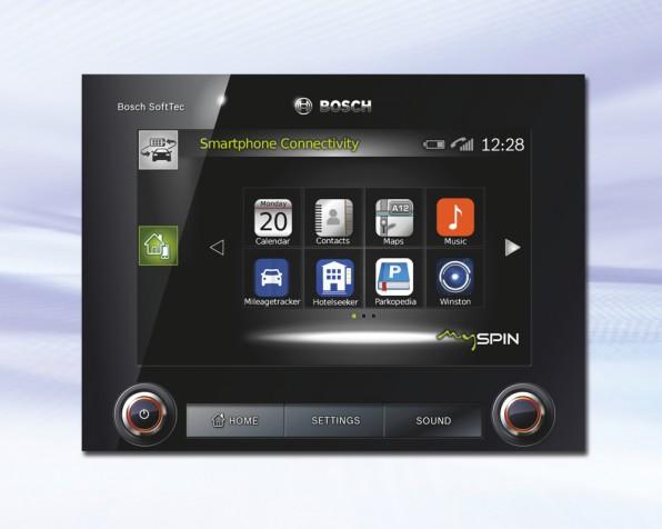 """Egal welches Smartphone-Betriebssystem - Boschs MySpin akzeptiert sie alle und bietet Autofahrern und Autoherstellern zahlreiche Möglichkeiten, Smartphone-Apps """"automobiltauglich"""" zu machen."""