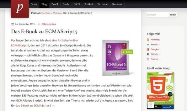 Auch der Webentwickler Peter Kröner achtet auf seiner Website auf eine gute Lesbarkeit seiner Texte und nutzt daher eine angenehm große Schrift.