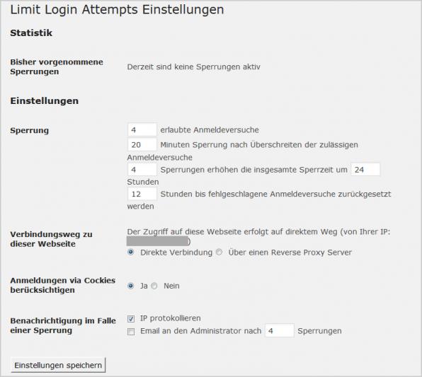 """Plugins wie """"Limit Login Attempts"""" schützen vor Brute-Force-Attacken, indem sie nach einer bestimmten Anzahl von falschen Anmeldungen innerhalb einer bestimmten Zeit eine Zwangspause für einen Nutzernamen verordnen."""