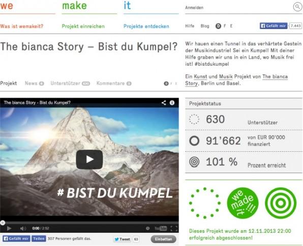 """Die schweizer Band """"The Bianca Story"""" überzeugte mit ihrer durchdachten Story und gut gemachten Kampagne viele Geldgeber und erreichte das Finanzierungsziel von 90.000 Euro."""