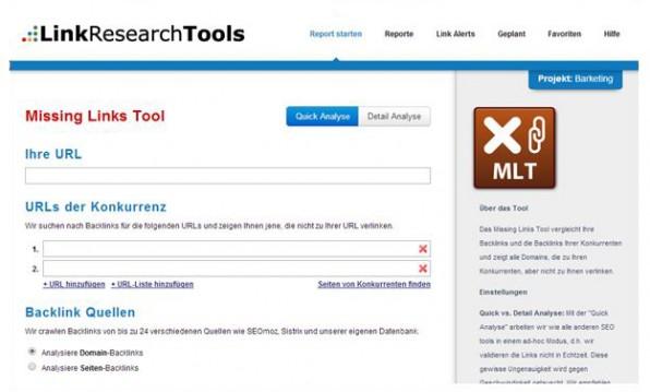 Das Missing-Link-Tool der LinkResearchTools gleicht das eigene Backlinkprofil mit dem von ausgewählten Konkurrenten ab. (Screenshot: Missing Links Tool)