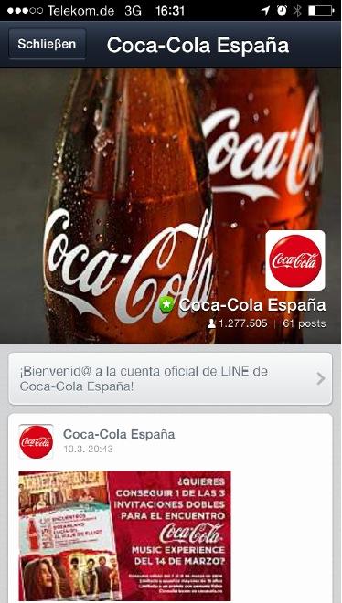 Der japanische Messenger Line ist mit den offiziellen Unternehmensprofilen auch international erfolgreich. So hat beispielsweise Coca Cola in Spanien auf Line weit über eine Millionen Abonnenten.