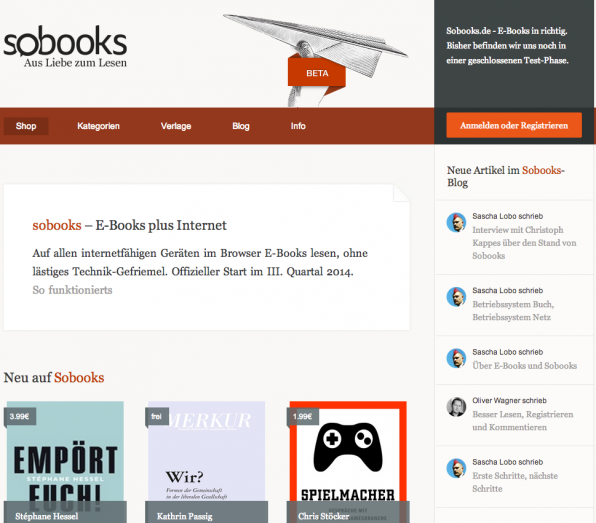 Sascha Lobo will mit Sobooks den Buchmarkt aufmischen und Bücher ins Internet-Zeitalter überführen. Hinter der Idee verbirgt sich ein Access-Modell für Bücher, das an Spotify erinnert.
