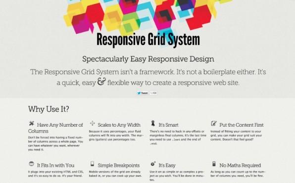 Ausdrücklich kein Framework: Das Responsive Grid System bietet ein responsives Grid mit bis zu zwölf Spalten. (Screenshot: responsivegridsystem.com)