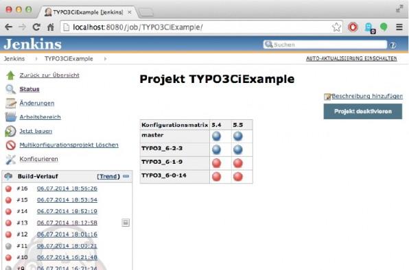 Ein Multikonfigurations-Build mit Jenkins. Im Beispiel kann ein TYPO3-Projekt mit beliebigen Kombinationen aus TYPO3- und PHP-Versionen getestet werden. (Screenshot: Jenkins CI)