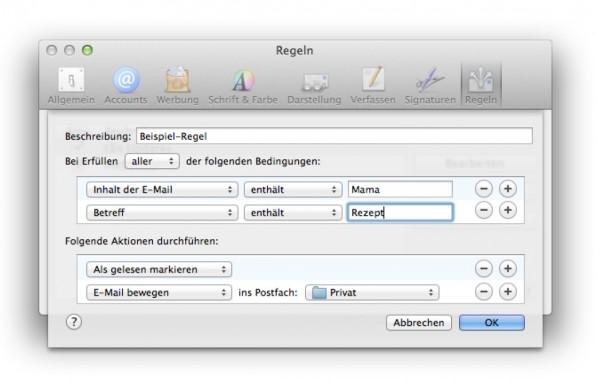 Bei Apple Mail definiert der Nutzer E-Mail-Regeln. In anderen Programmen heißt das Vorgehen manchmal Filtern. (Screenshot: Apple Mail)