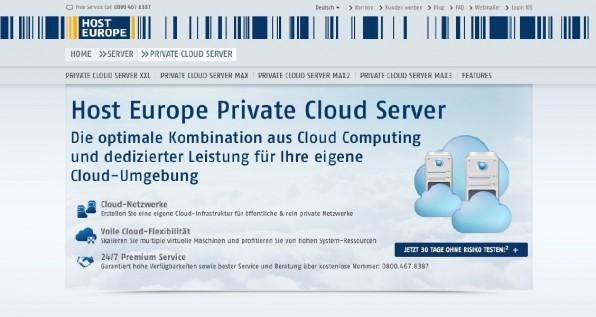 Hybride Clouds wie die von Host Europe beispielsweise kombinieren eine public mit einer private Cloud.