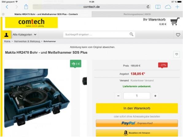 Comtech zeigt wie es geht: Hier ist dem Kunden schon beim Hinzufügen in den Warenkorb klar, dass der schnelle Checkout mit Paypal oder Amazon zur Verfügung steht. (asos.de)