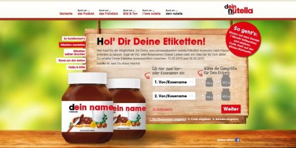 Der letzte Marketingcoup von Nutella: Schokocreme-Fans können sich online ein eigenes Etikett für ihr Nutellaglas gestalten und zuschicken lassen. (Screenshot: nutella.de)