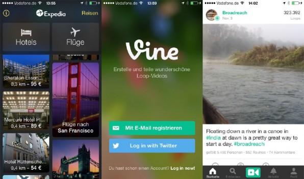 Das mobile Video-Netzwerk Vine punktet auf seiner Startseite mit einem im Hintergrund ablaufenden, weichgezeichnete Video. (Screenshot: vine.co)