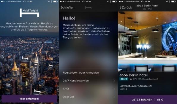 Die iOS-App des Hotels Tonight zeigt, wie der Blur-Effekt funktioniert: Die Bilder sind verschwommen, sobald sich der Text darüberlegt. Dieser ist dann gut lesbar, dennoch bleibt der Bezug zum Bildinhalt bestehen. (Screenshot: Hotel-Tonight-App)