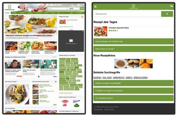 Eine erhöhte Verweildauer erreicht man auch über eine Plattform-abhängige Personalisierung: Chefkoch beispielsweise spielt auf der Desktop-Site anderen Content aus als auf der mobilen Variante.