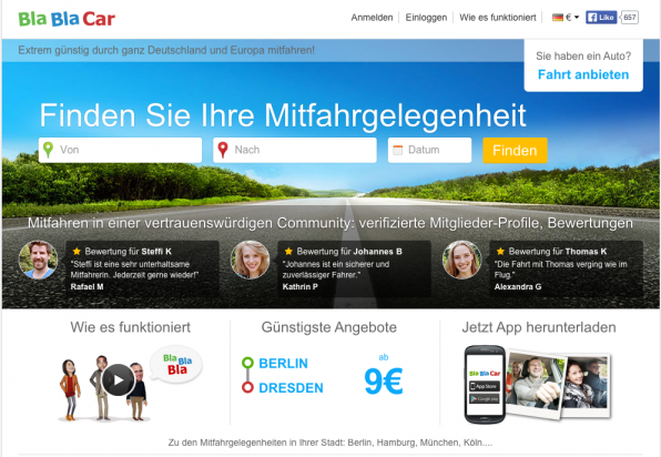 Erfolgsmodell der Share-Economy: BlaBlaCar hat vor kurzem die deutschen Mitbewerber Mitfahrgelegenheit.de und Mitfahrzentrale.de übernommen.
