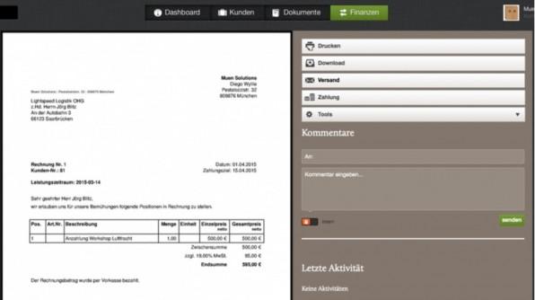 Mobile Apps, nützliche Benachrichtigungen, PayPal-Support und mehr: FastBill überzeugt durch zahlreiche Extras. (Screenshot: FastBill)