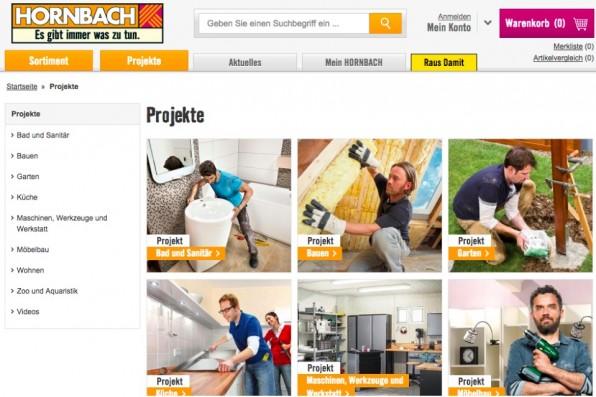 Die Baumarktkette Hornbach holt ihre Bedürfnisgruppe ab, indem sie typische Reparatur- und Bauanleitungen auf ihrer Website zur Verfügung stellt.