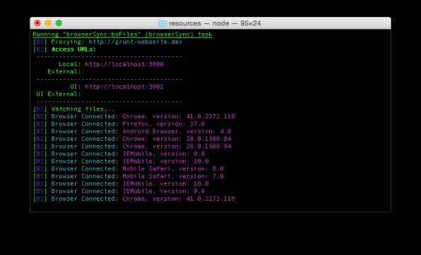 Das Terminal listet alle über Browser-Sync synchronisierten Geräte auf – inklusive der verwendeten Browserversion. Cross-Browser-Testing gestaltet sich so um ein vielfaches einfacher.
