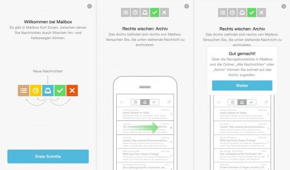Die iOS-App Mailbox überzeugt mit einem interaktiven Tutorial. Es erklärt Nutzern nicht nur die Funktionen, sie können sie auch direkt ausprobieren und somit die Grundlagen für künftige Gewohnheiten schaffen.