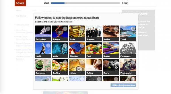 Die Frage-und-Antwort-Plattform Quarr verbindet verschiedene User-Onboarding-Techniken: Sie führt neue User mit klaren Aufgabenstellungen schrittweise durch das Einrichten ihrer Accounts, visualisiert den Fortschritt und schafft durch die Darstellung des Produkts im Hintergrund Anreize zur Vervollständigung.
